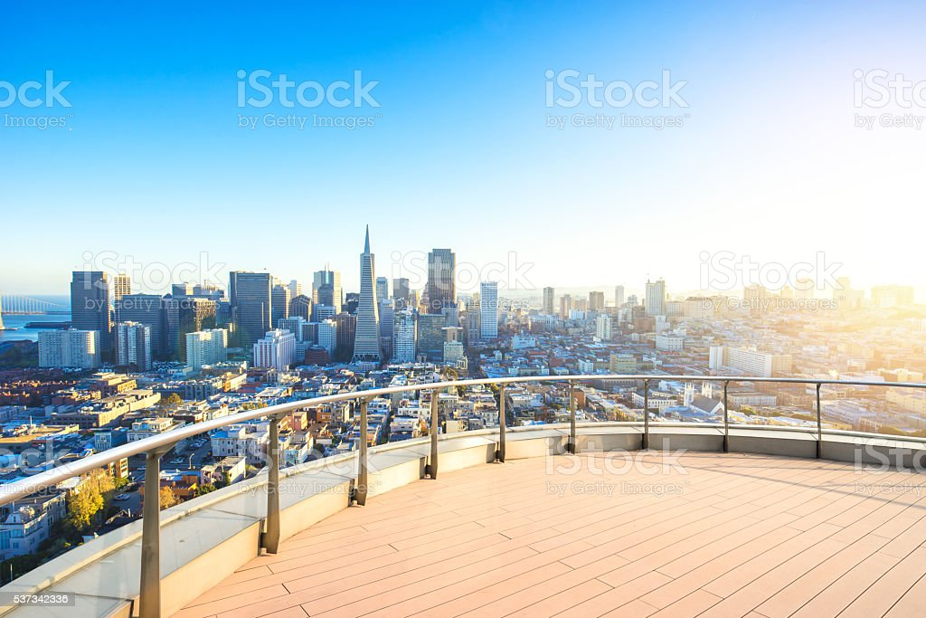 empty floor with cityscape and skyline of san francisco stock photo