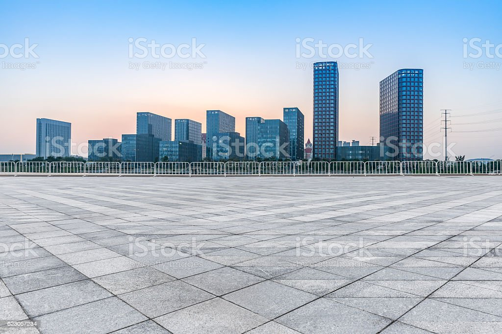 Empty floor with modern business office building stock photo