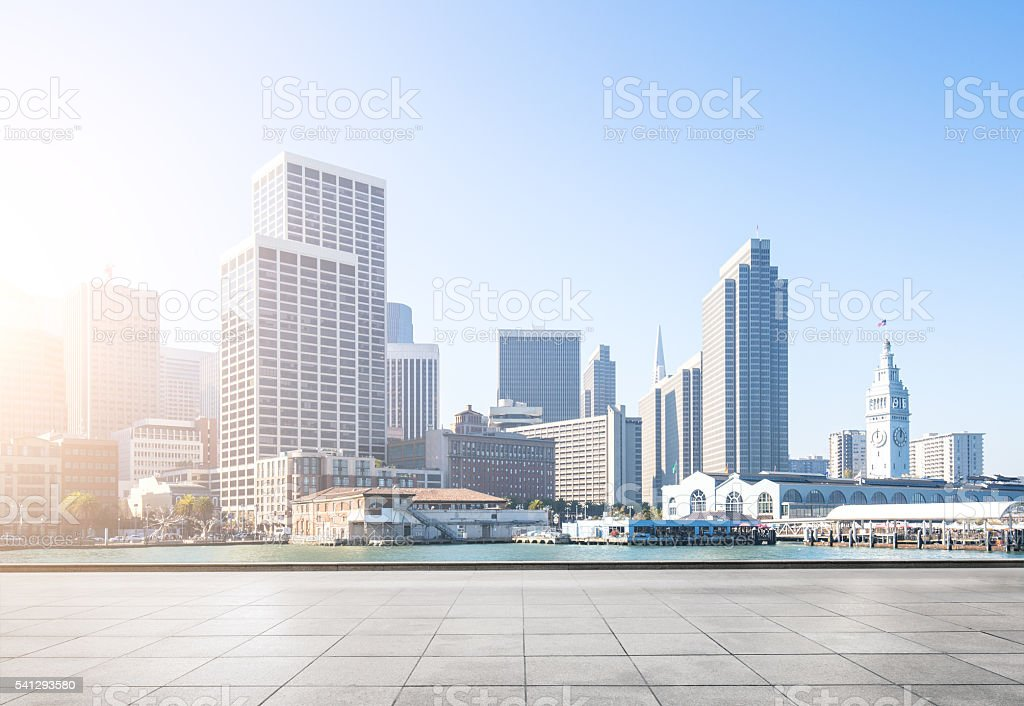 empty floor,cityscape and skyline of san francisco at sunrise stock photo