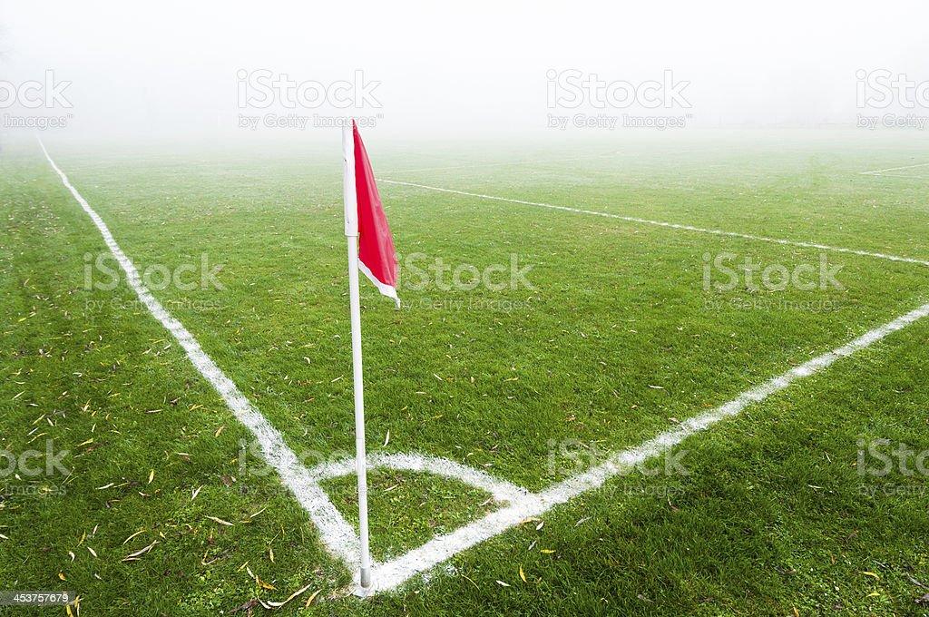 Empty football field stock photo