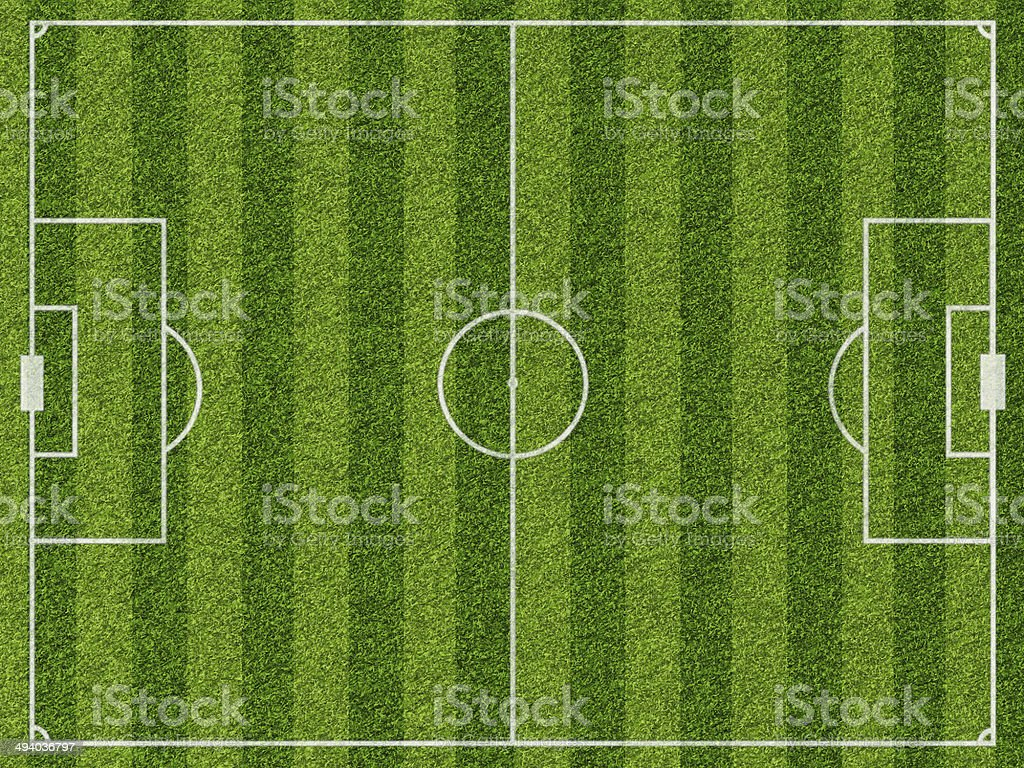 Empty football field with markup stock photo