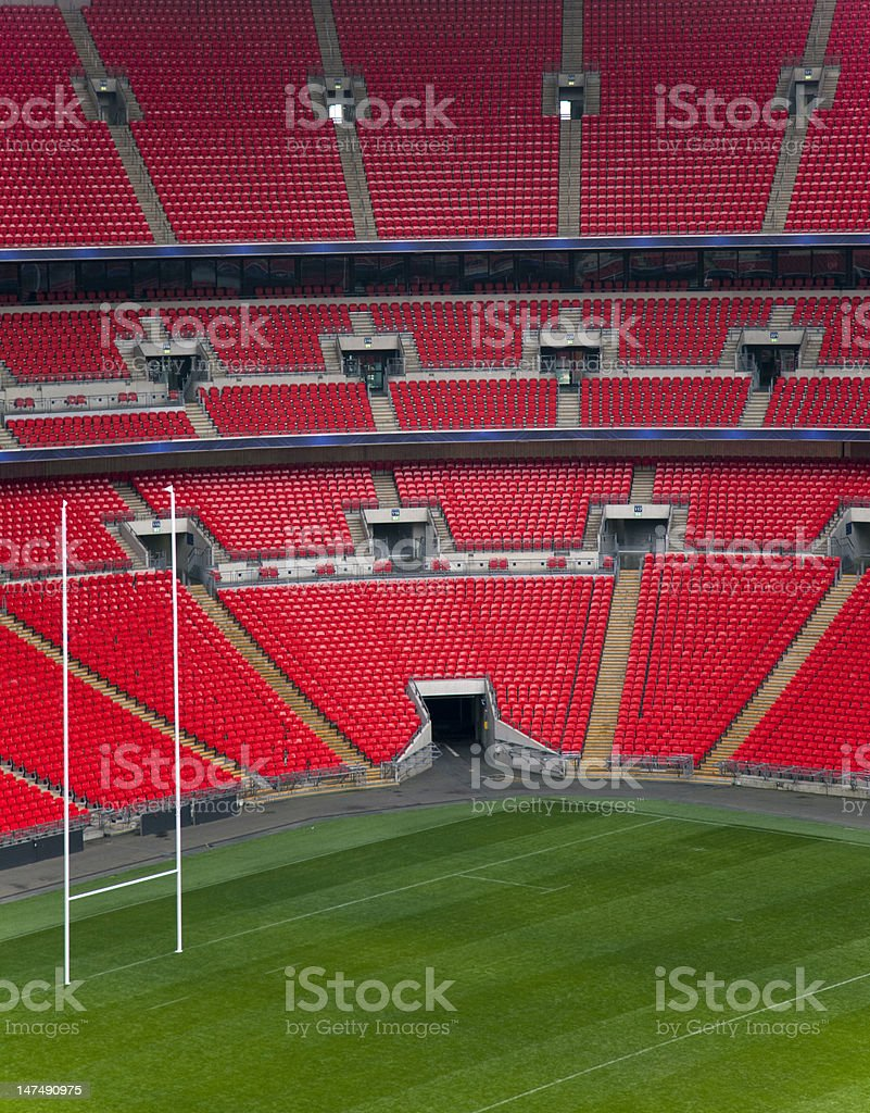 Empty Football Stadium With Goal royalty-free stock photo