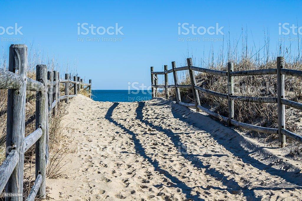 Empty Footpath to Beach at Sandbridge in Virginia stock photo
