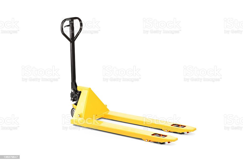 Empty fork pallet truck stacker stock photo