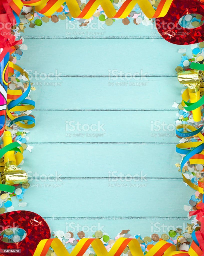 Empty frame for carnival on wood background stock photo