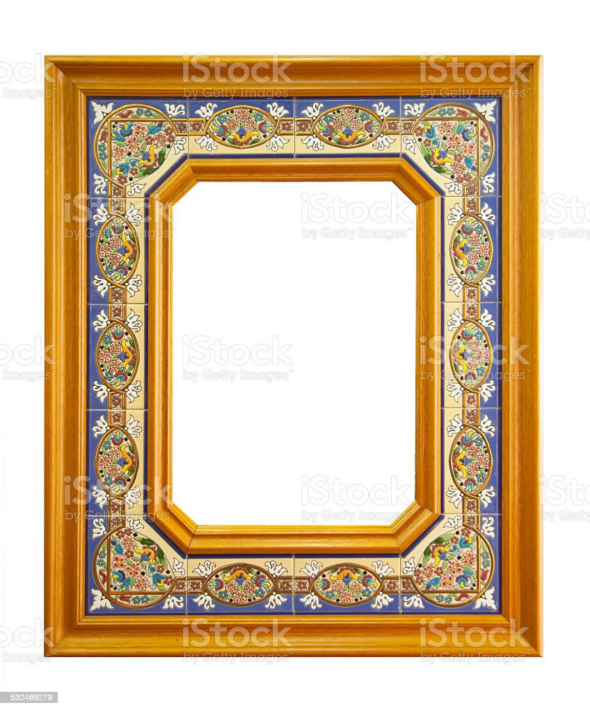 Empty frame made of ceramic tiles. stock photo
