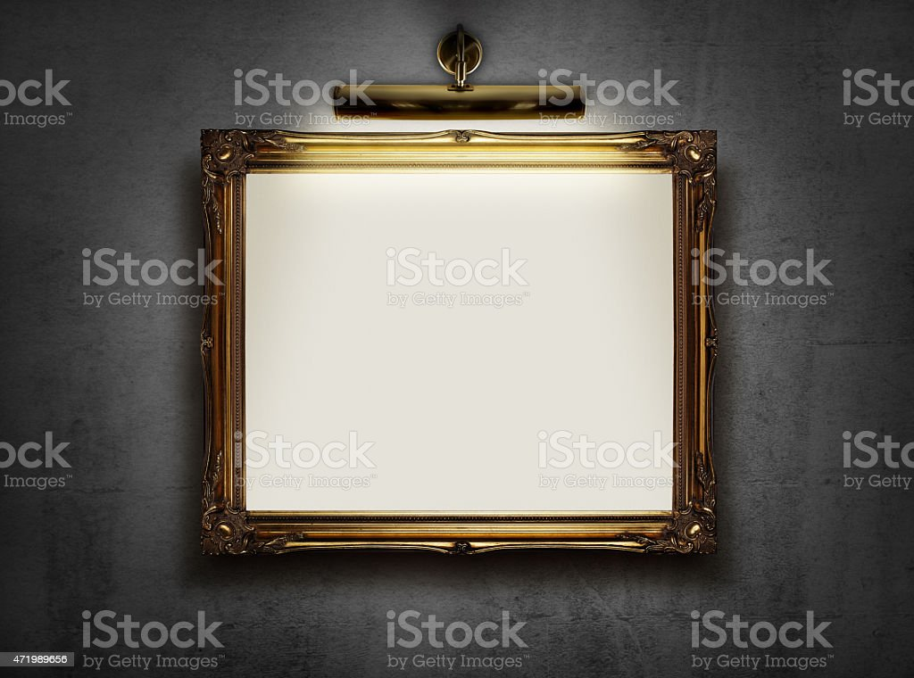 Empty frame on the wall stock photo