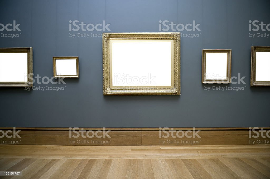 Empty frame on wall stock photo