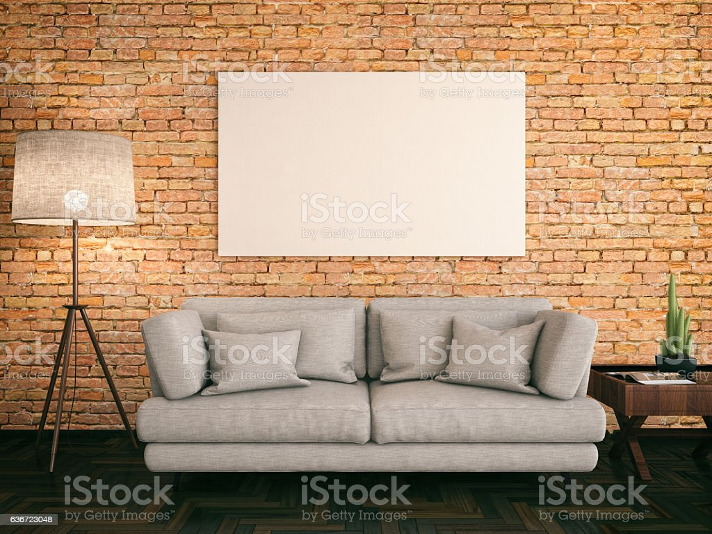 Empty Frame with Couch stock photo
