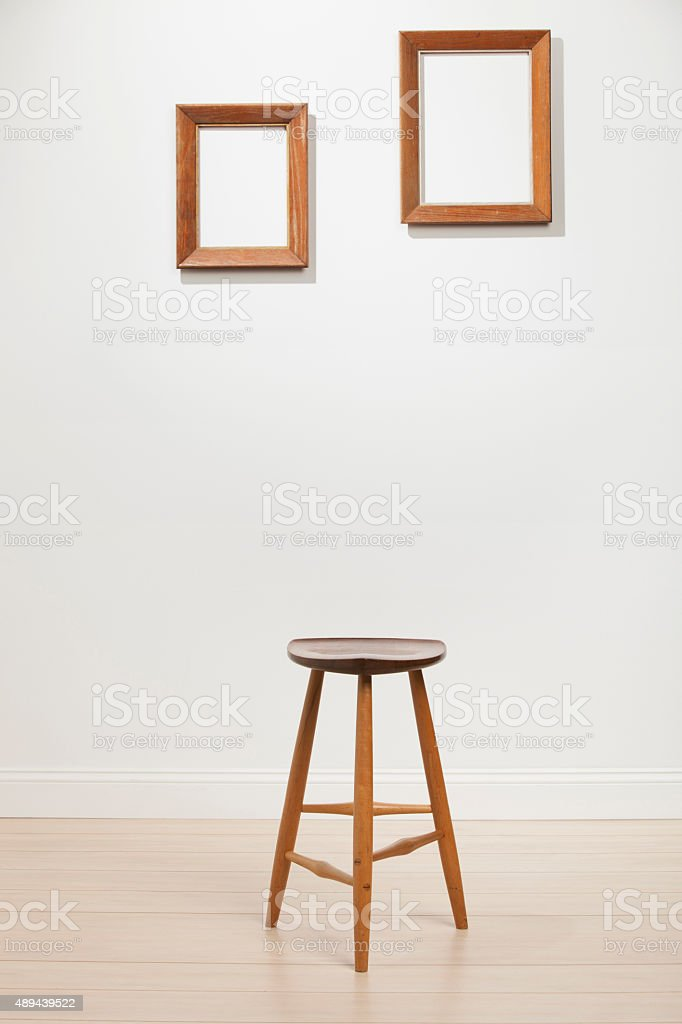 Empty Frames in White Room stock photo