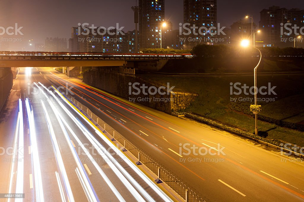 Empty freeway at night royalty-free stock photo