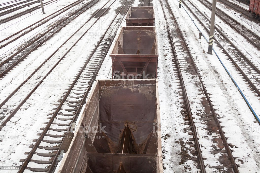 Empty freight wagons stock photo