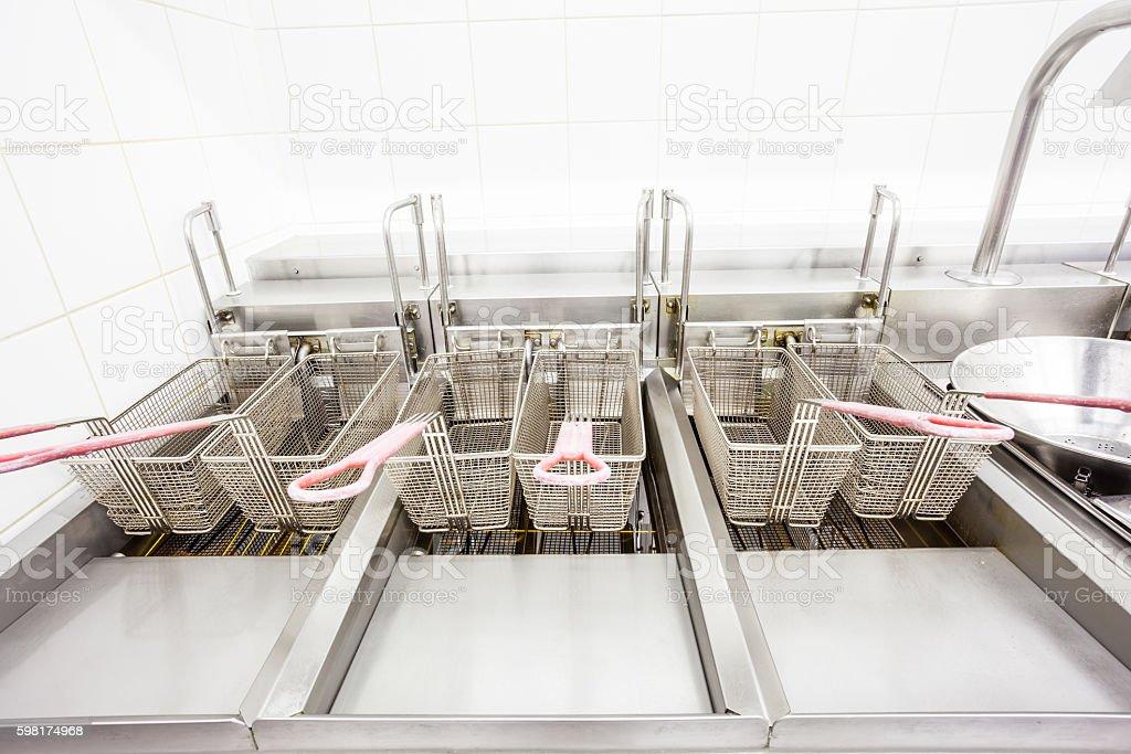 empty fryer in stainless steel stock photo