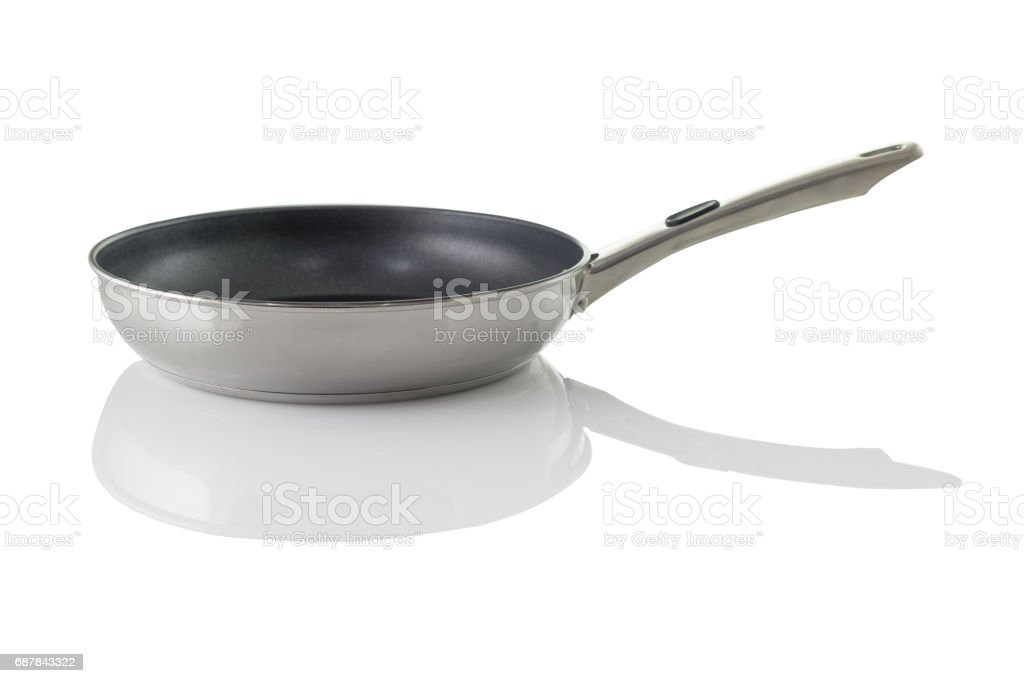 empty frying pan isolated on white stock photo