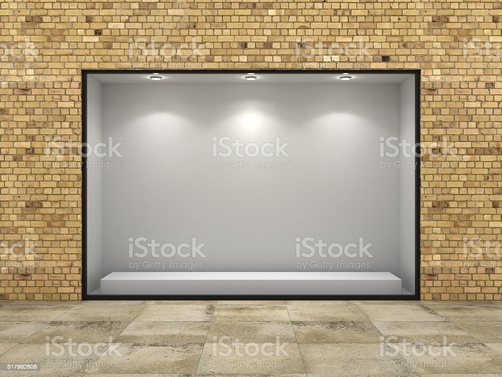 Empty ftorefront of shop in bricks wall. stock photo