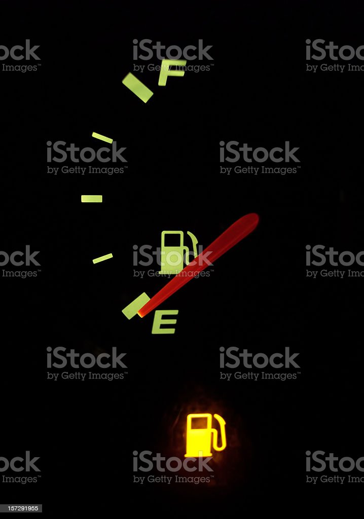 Empty Fuel Guage with Warning Light stock photo