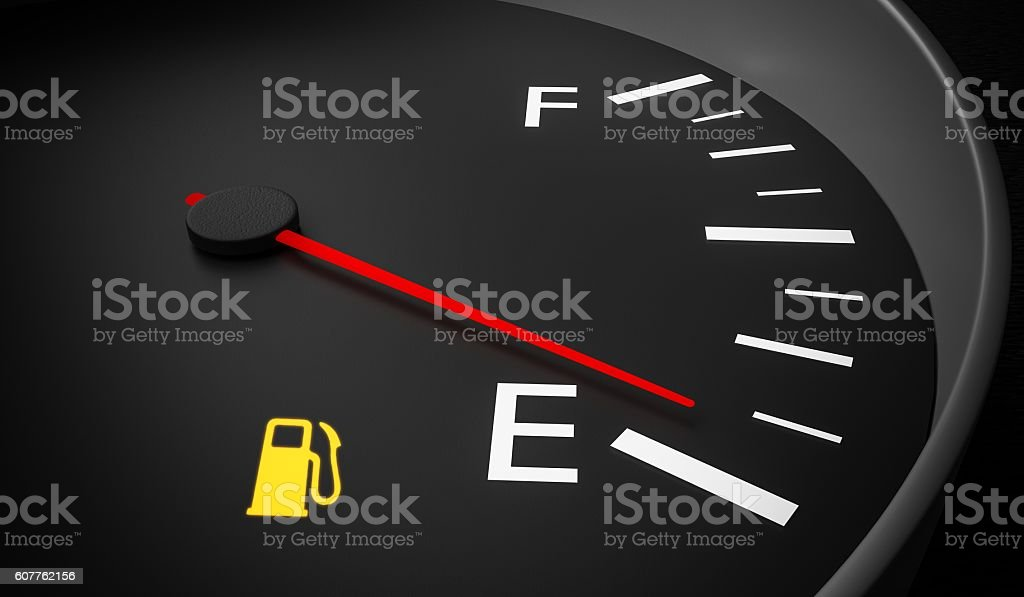 Empty fuel warning light in car dashboard. 3D rendered illustration. stock photo