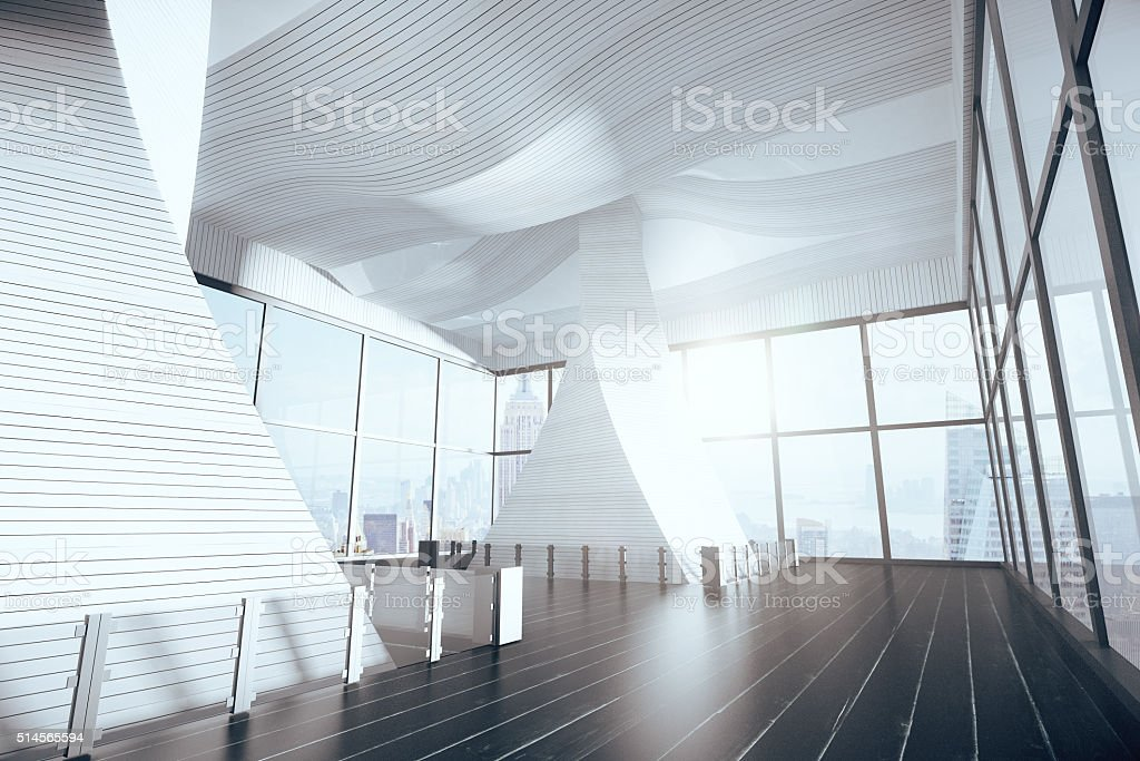 Empty futuristic hall interior with wooden floor and big windows stock photo