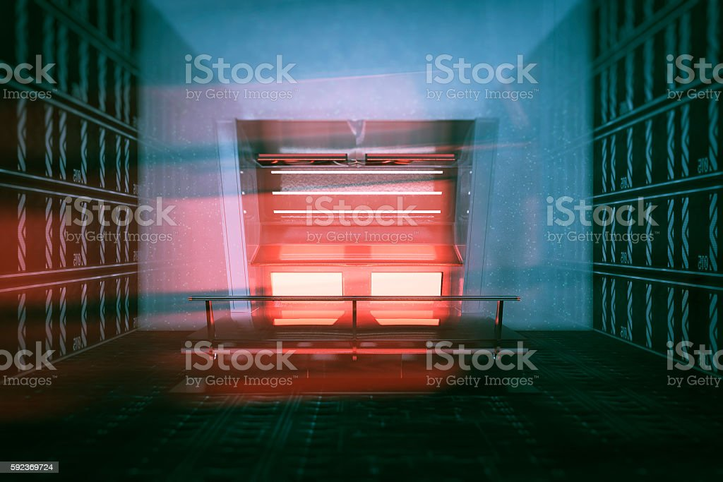 Empty futuristic room with supercomputer console stock photo