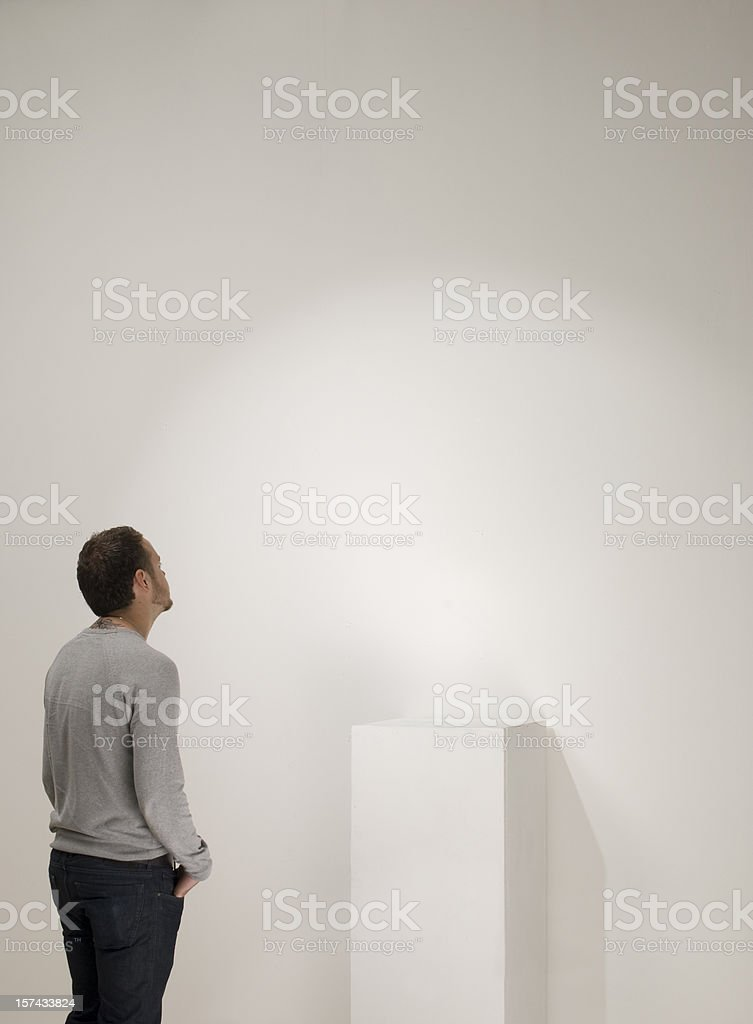 empty gallery plinth stock photo