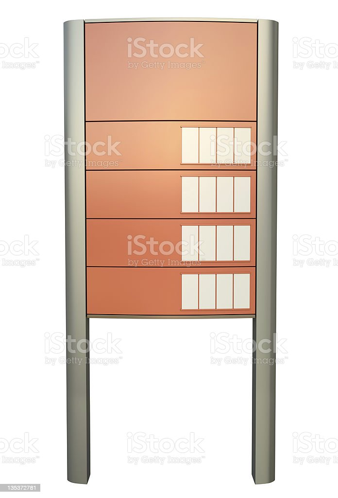 Empty gas station sign for prices of petrol stock photo