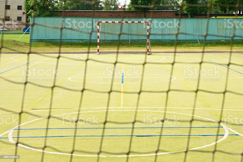 Empty gate. Outdoor football or handball playground, stock photo