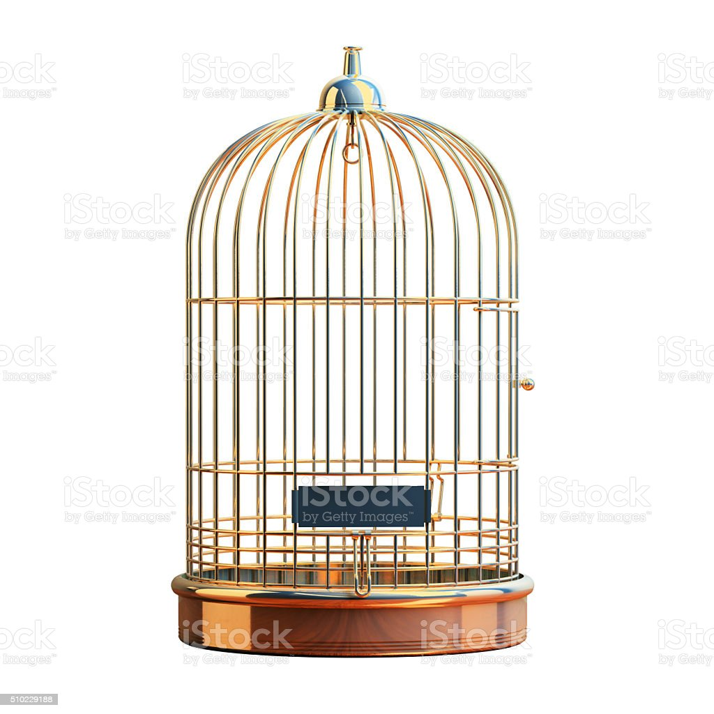 Empty gilded cage isolated stock photo