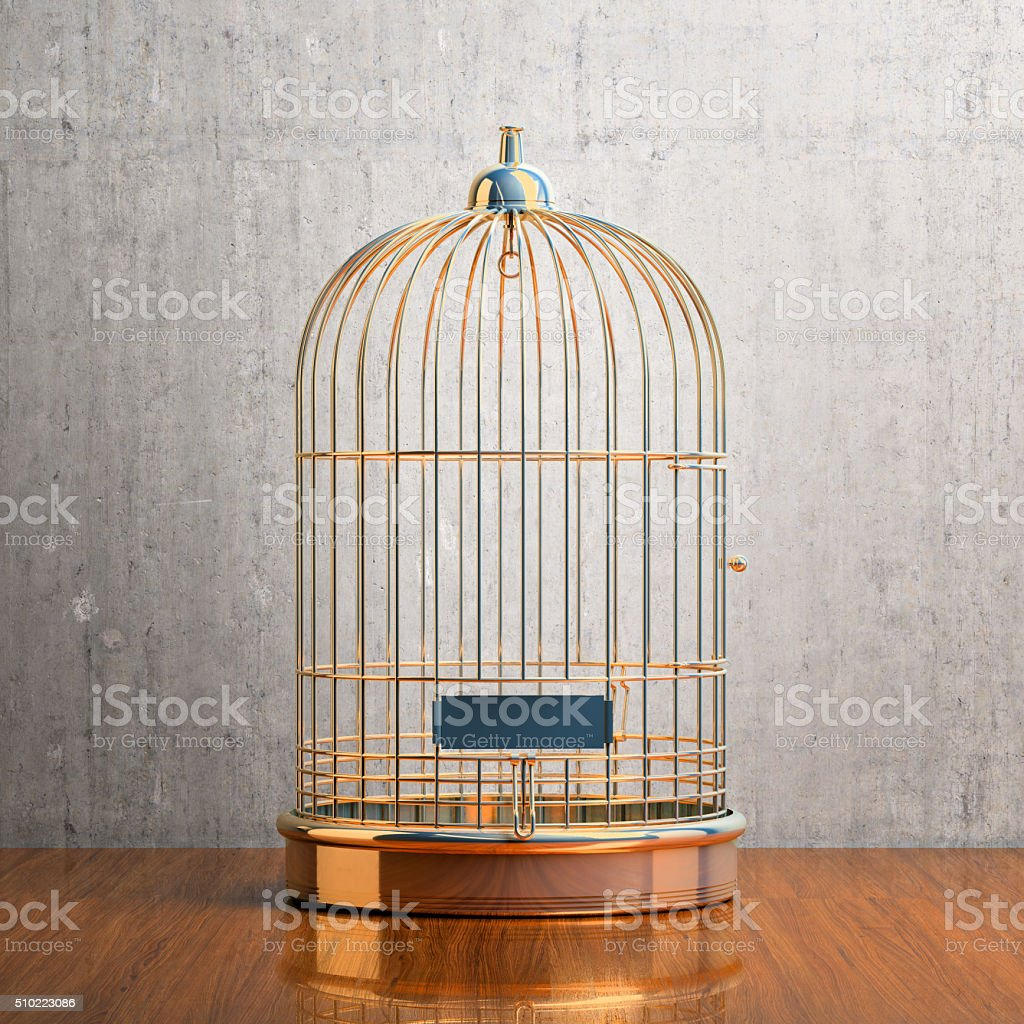 Empty gilded cage stock photo