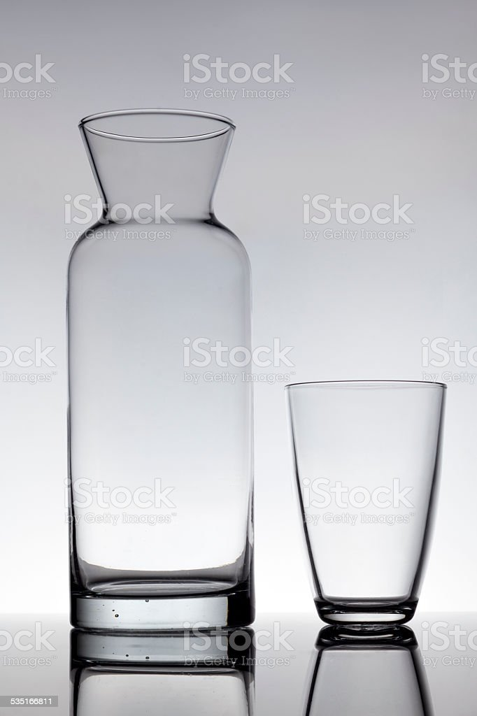 Empty glass and a carafe stock photo