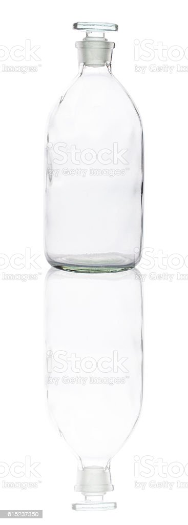 empty glass bottle with reflection stock photo