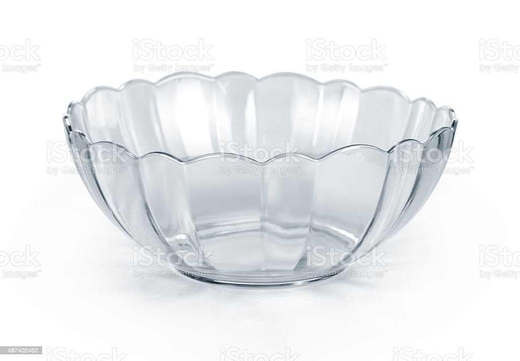 Empty glass bowl on white background stock photo