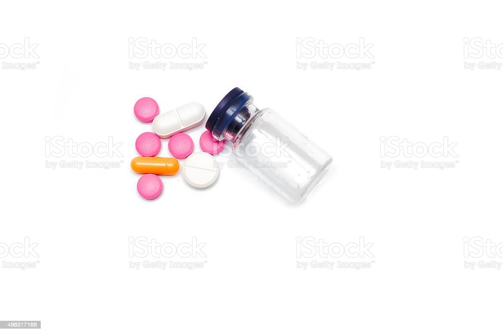 empty glass container from under pills stock photo