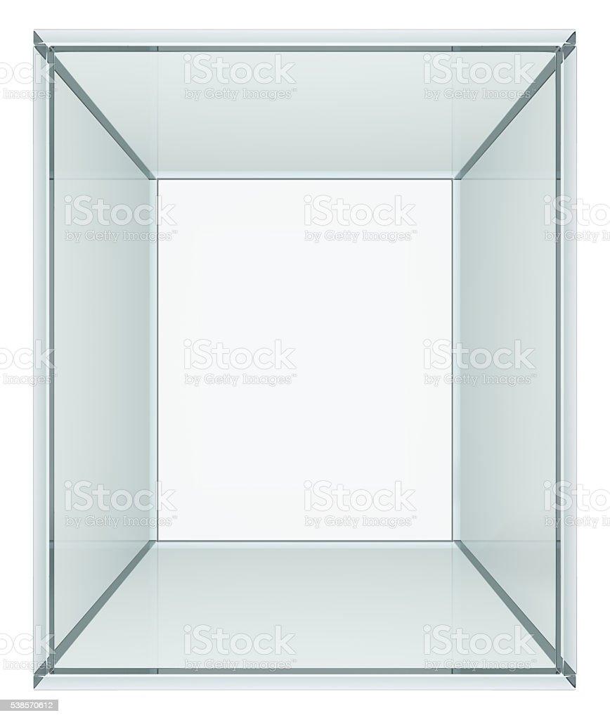 Empty glass cube stock photo