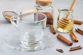 Empty glass cup and ingredients for healthy rooibos red tea