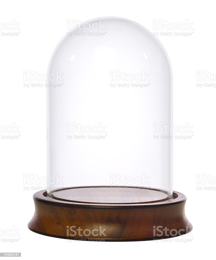 Empty Glass Dome Display Case, Dust Cover stock photo