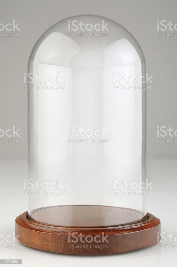 Empty Glass Dome Display Case, Dust Cover with Clipping Path royalty-free stock photo