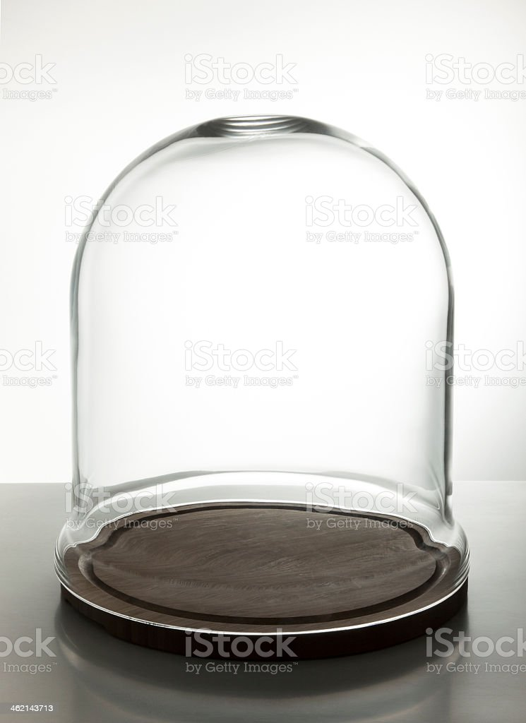 Empty glass dome display case for cake stock photo