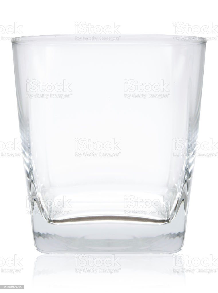 empty glass for whiskey stock photo