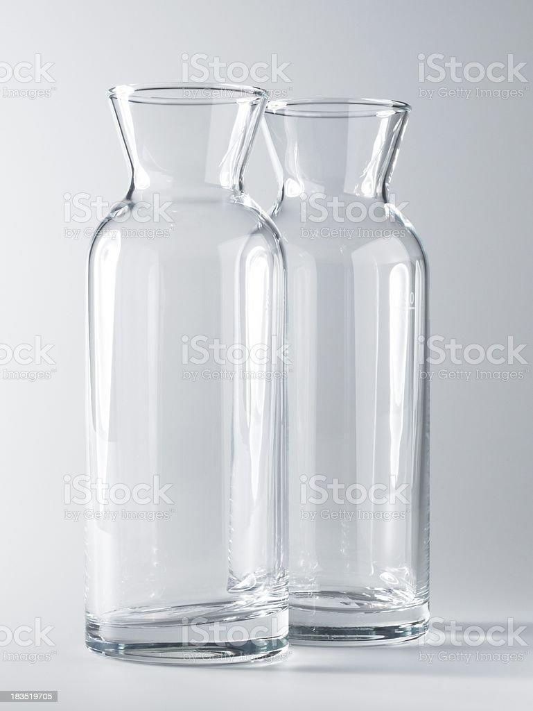 Empty glass milk bottles stock photo