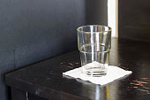 empty glass on wood table