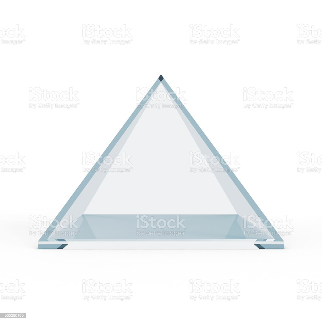 Empty Glass Pyramid isolated on white background stock photo