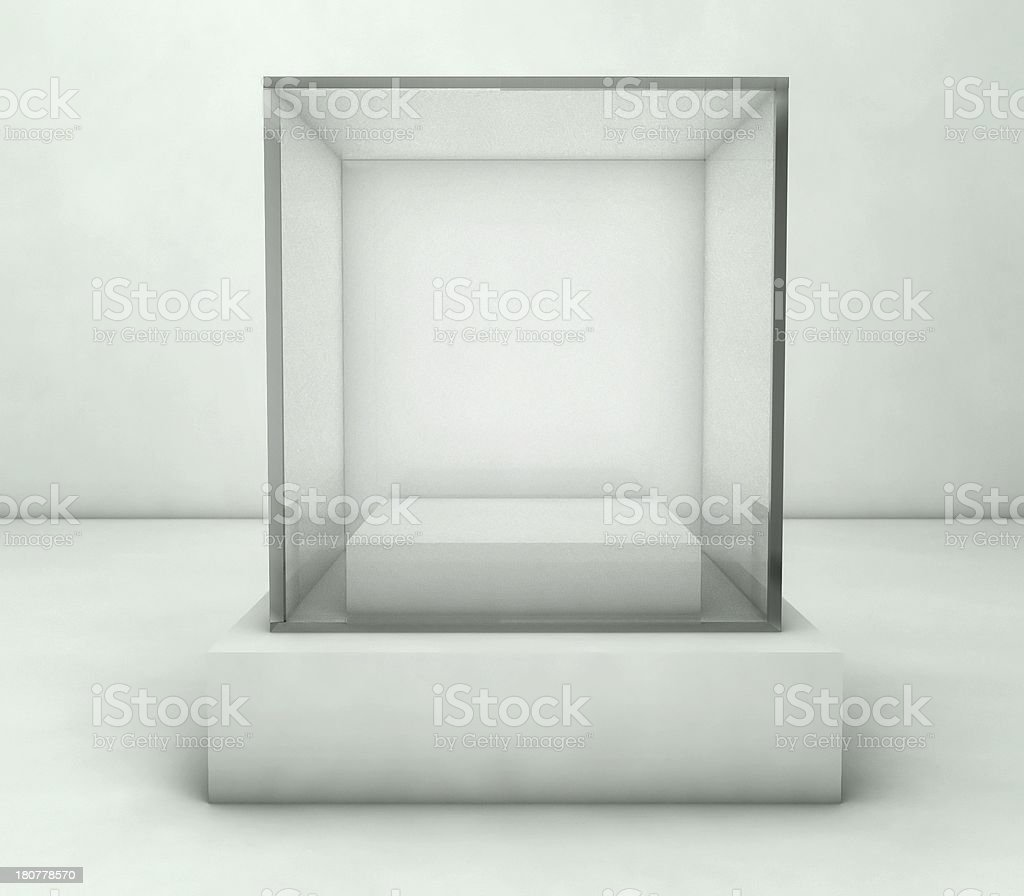 Empty glass showcase, 3d exhibition space stock photo
