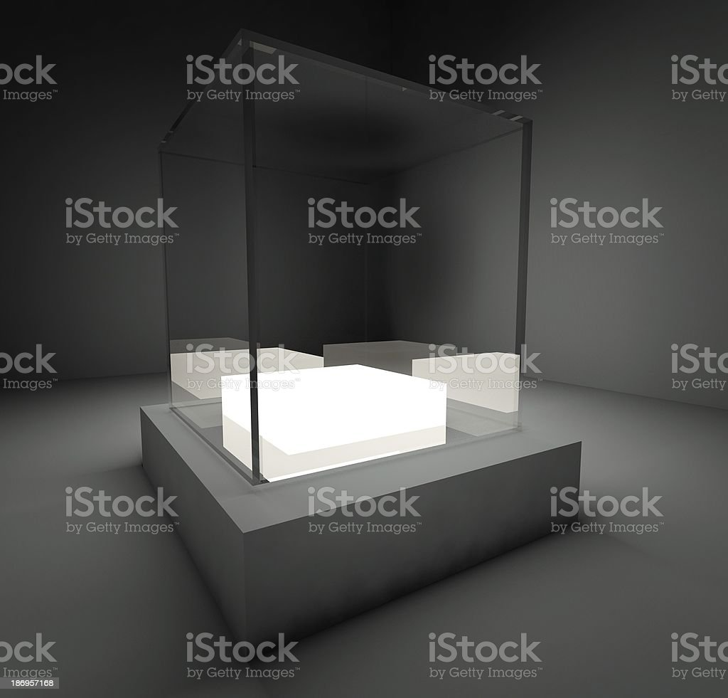 Empty glass showcase, 3d exhibition space royalty-free stock photo