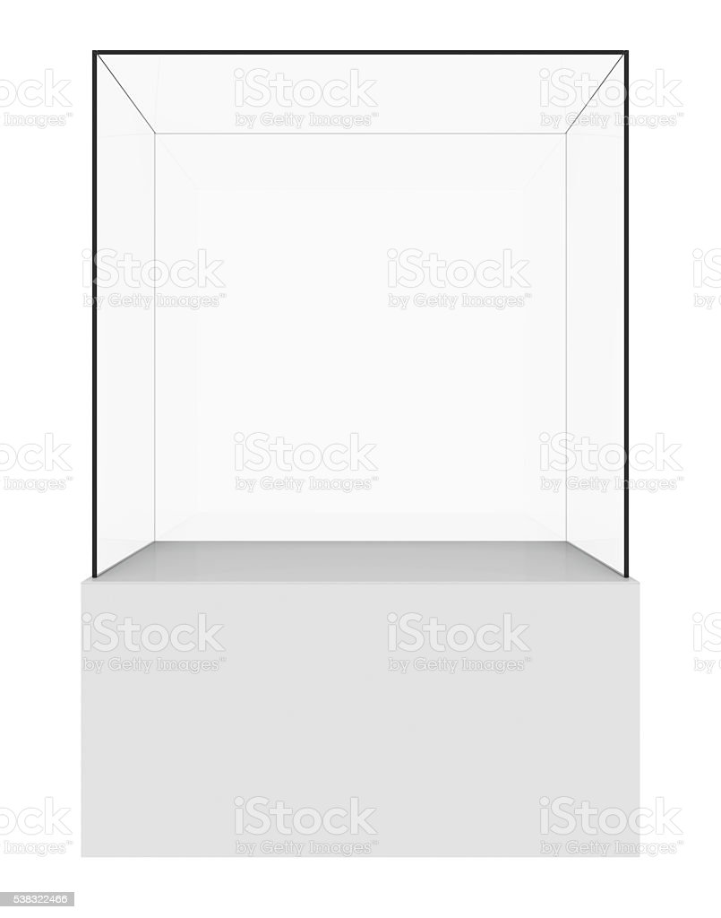 Empty glass showcase. 3d render stock photo