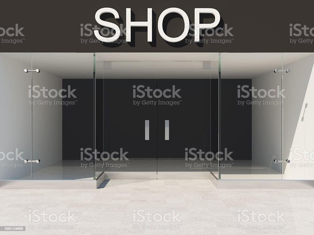 Empty glass showcase stock photo