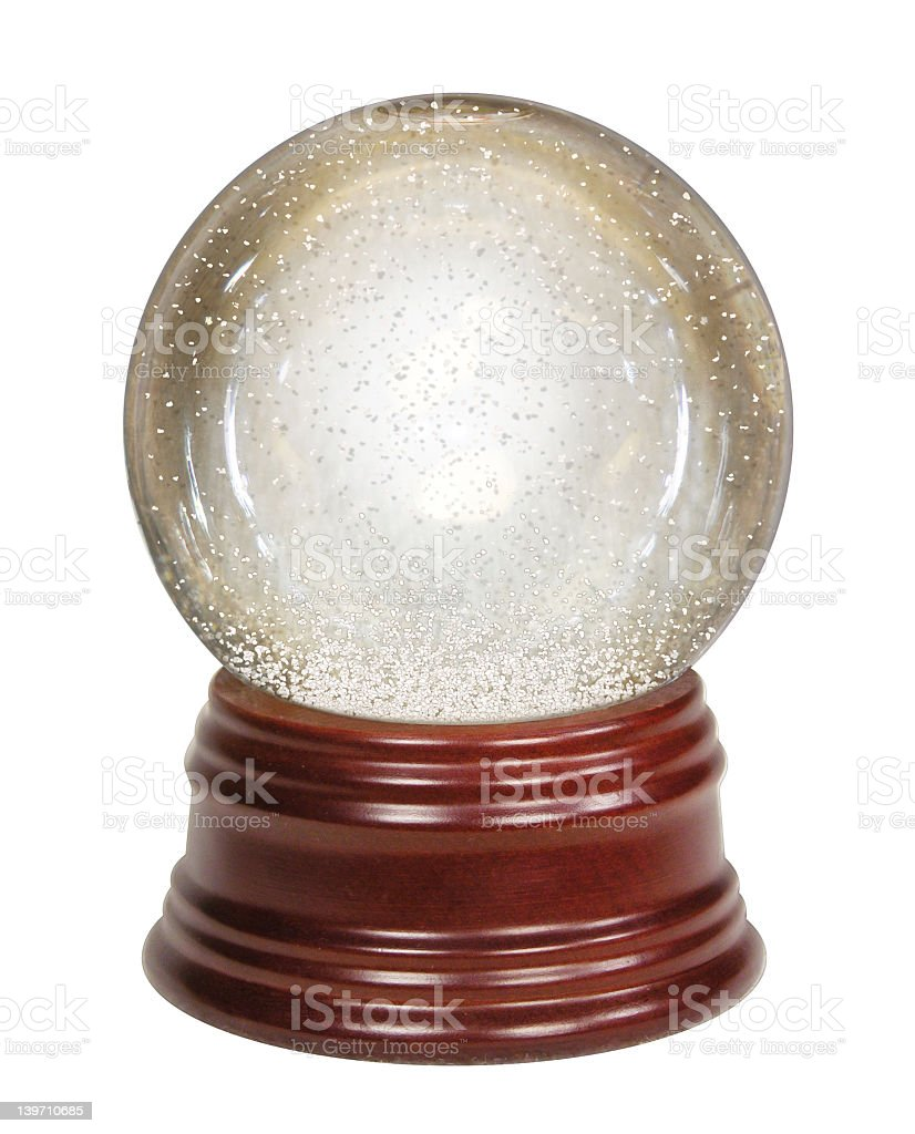 Empty Glass Snow Globe with Wooden Base stock photo