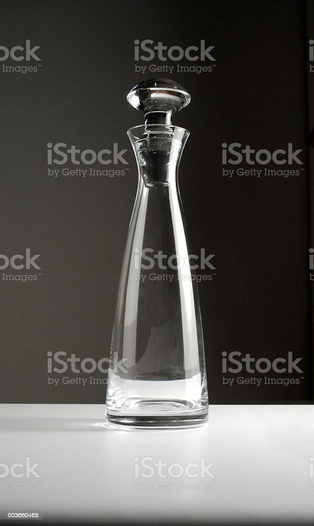 empty glass wine decanter stock photo