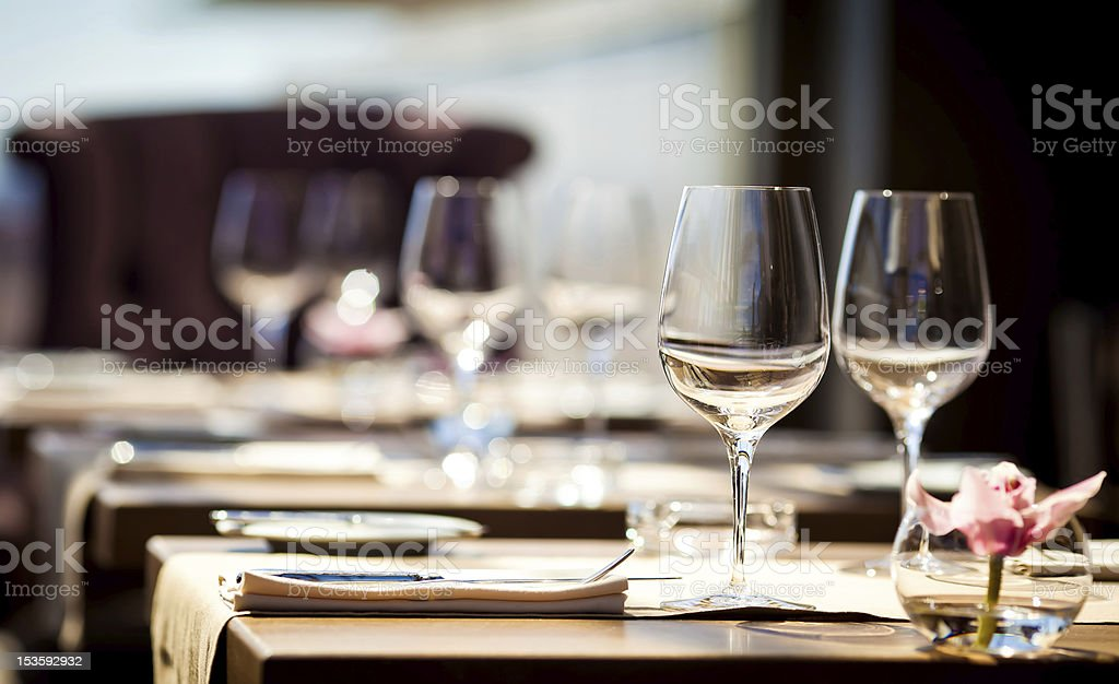 Empty glasses in restaurant royalty-free stock photo