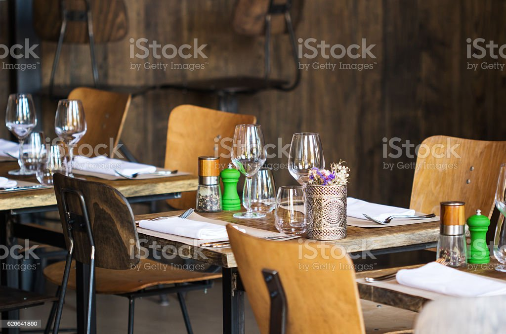 Empty glasses in restaurant / table set restaurant stock photo