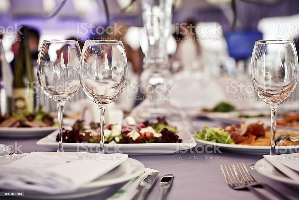Empty glasses set in restaurant stock photo